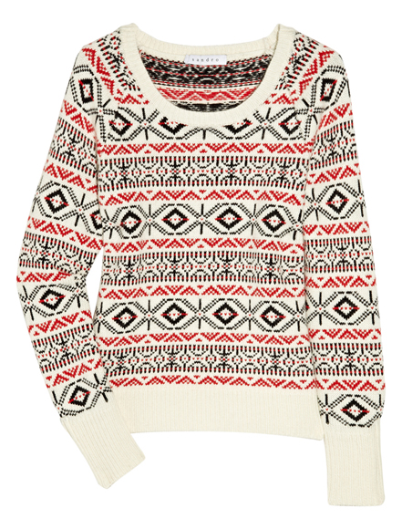 Sandro - Surfing intarsia fine-knit sweater